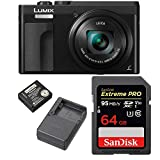 Cheap Panasonic Lumix DC-ZS70K 20.3 Megapixel 4K Digital Camera (Black) w/ 64GB SD Card & Lumix Battery & Charger Travel Bundle