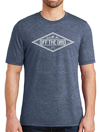 Off The Grid, Camping Shirt, Outdoors, Backpacking,Camp,Tri Blend, Soft T-shirt, Hiking,Mountains,Nature ()