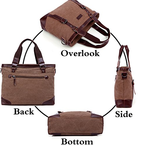 Handbag 14 Bag Tote College Shoulder Handle Business Briefcase Messenger Inch Coffee Multifunction Top Rullar Crossbody School Canvas Satchels Laptop Mens q1wEaEx0g