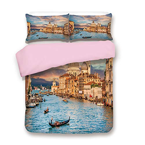 ,FULL Size,Gondola on Famous Canal Grande with Basilica di Santa Maria della Salute in Evening,Decorative 3 Piece Bedding Set with 2 Pillow Sham,Best Gift For Girls Women,Blue Crea ()