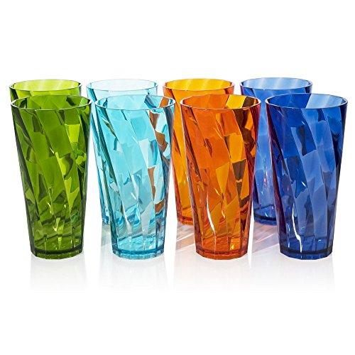 8pc Optix Break-resistant Restaurant-quality Plastic Cup Tumblers in 4 Assorted Colors