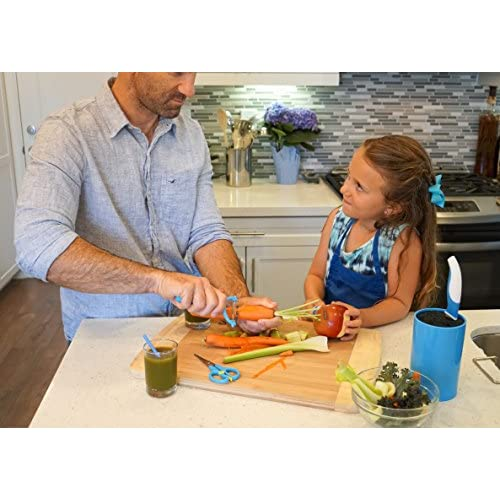 TruChef Kids Chef Set With Universal Holder, Includes Paring & Chef Knife, Peeler, Scissors (Blue)