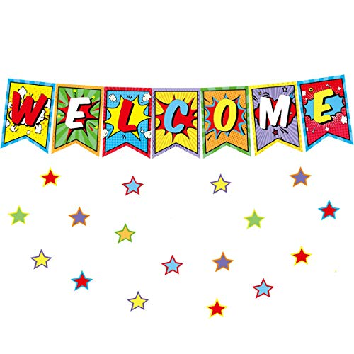 Welcome Bulletin Board Set Superhero Classroom Decoration Superhero Pennants