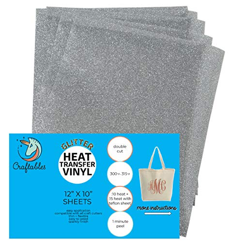 (5) 12 x 9.8 Sheets Craftables Silver Glitter Heat Transfer Vinyl, HTV - Sparkling Easy to Weed Tshirt Iron on Vinyl for Silhouette Cameo, Cricut, All Craft Cutters. Ships Flat, Guaranteed Size