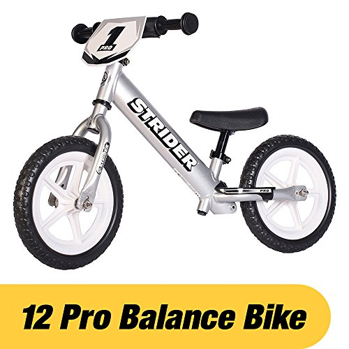 Strider - 12 Pro Balance Bike, Ages 18 Months to 5 Years, Silver by Strider