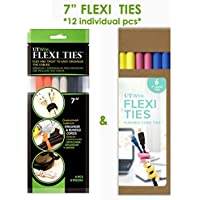 UT Wire 7 Flexi Ties Cable Wrap - (Orange/Gray/Black/Yellow/Pink/Blue) - 12 Count