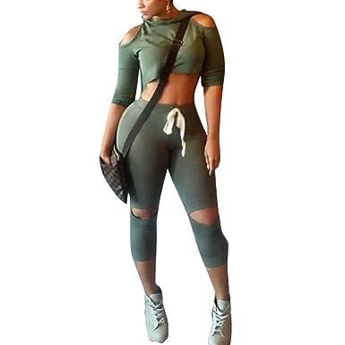 Sfit 2 Pièces Ensemble Femme Survêtement Sports T-shirt et Leggings  Pantalon Gym Yoga Jogging 27889507df0