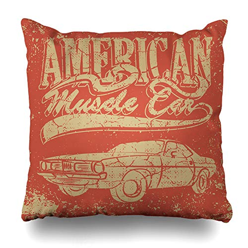 (Ahawoso Throw Pillow Cover Square 16x16 Inches Automobile Red Rod American Muscle Car Hot Coupe Vintage Antique Auto Black Classic Low Cushion Case Home Decor)