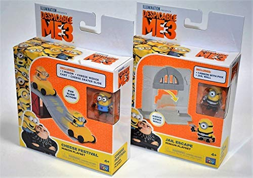 2 Sets Despicable Me 3 Cheese Festival & Jail Escape Minion Playset (Action Toys, Figures, Game, Minions, mineez, Party Treat, boy Girl Children Gift)]()