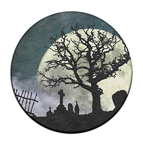 Halloween Cemetery Scene Soft Comfort Flannel Round Area Indoor Mats Rugs,Non-Slip Multi-Use Doormat Super Absorbent Bathroom Mat Toilet,Kitchen Floor Mats Washable Home Decor -