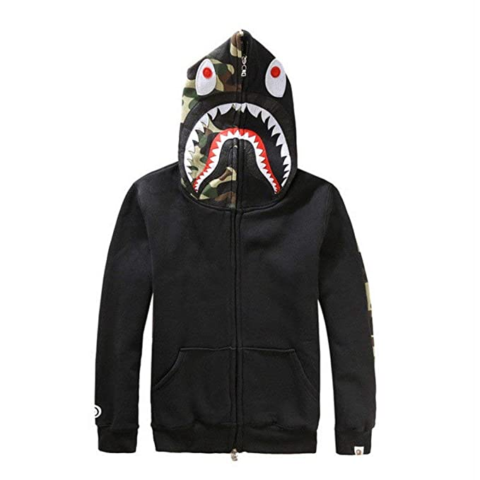 Griffith Nancy New Bathing Ape Bape Jacket Men Shark Head Full Zip Hoodie  Sweater Jacket