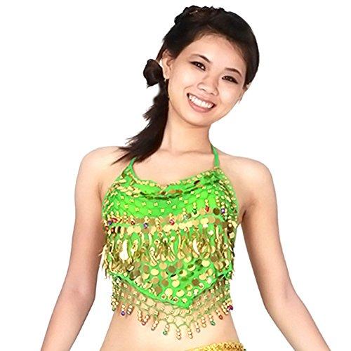 moresave mujeres lentejuelas cuentas campanas sujetador Tops monedas de oro de danza del vientre disfraz de pimientos, mujer, morado, talla única verde oscuro