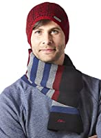 Screamer Men's Dot Map Beanie with Coordinating Scarf, One Size, Red