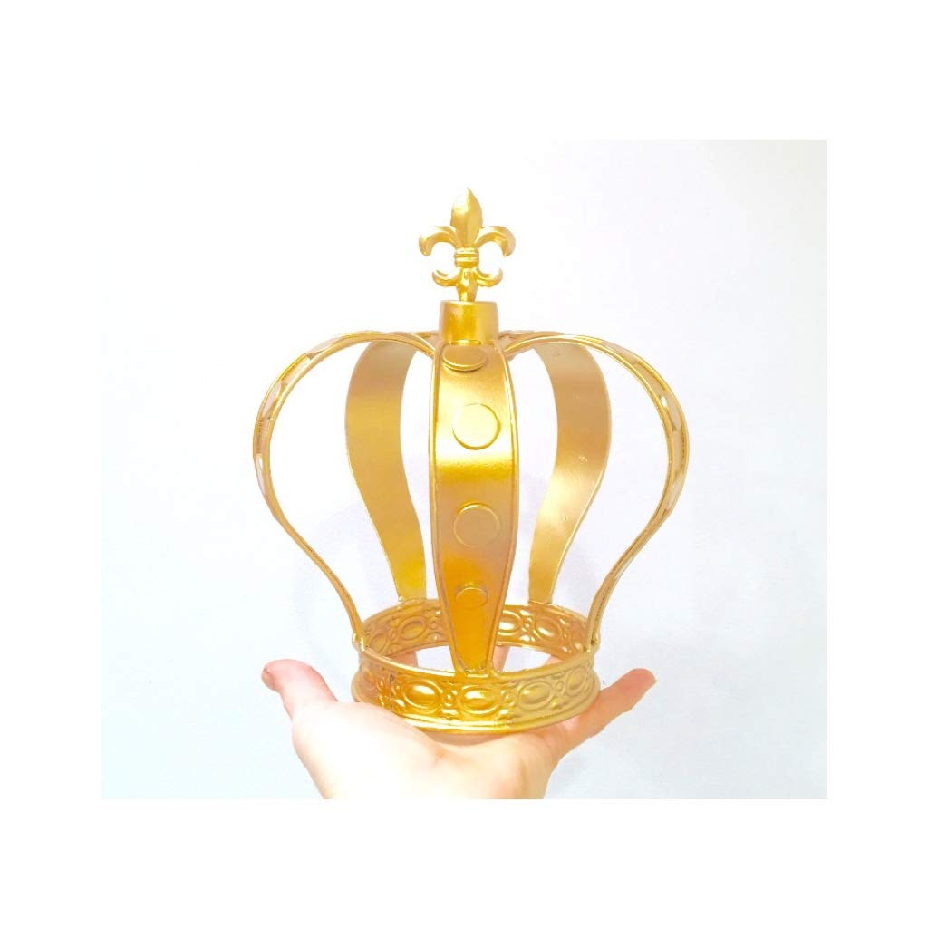 Gold Color Metal Crown for Flower Centerpieces or Cake topper, (Gold)