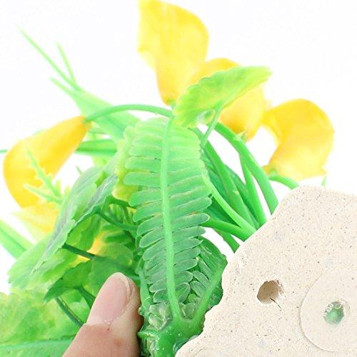 Amazon.com : eDealMax Planta de agua plástico imitó la Flor Gras Amarillo Verde Para el acuario : Pet Supplies