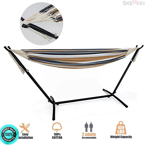 SKEMIDEX Double Hammock With Space Saving Steel Stand Includes Portable Carrying Case and pawleys island hammock rope hammocks at lowe's garden hammock free standing hammocks walmart - Gardens Island Pawleys