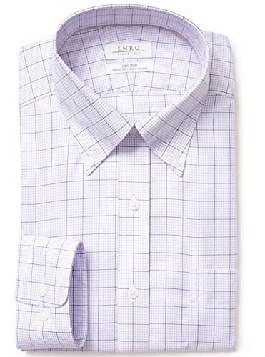 Enro Non-Iron Button Down Collar Friday Harbor Check Dress Shirt (16 32/33, Lavender)