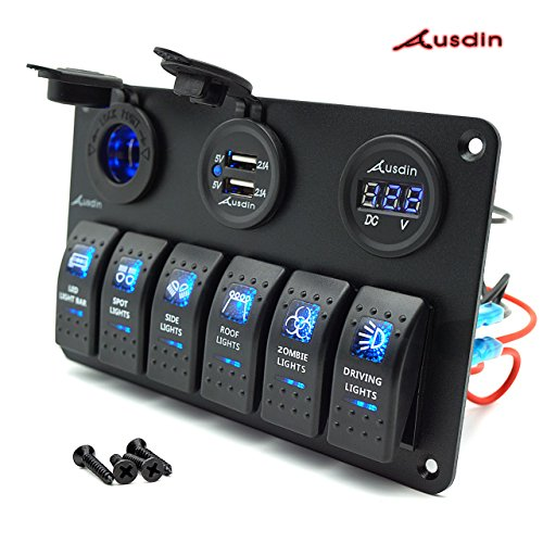 Switch Panel, Ausdin Rocker Switch Panel 6 Gang Switch Panel For Led Light Bar Marine Switch Panel Boat Switch Panel Heavy Duty Waterproof Wiring Harness Connected Easy Installation 2 Years -