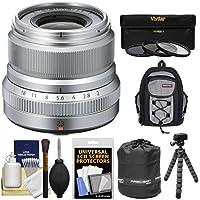 Fujifilm 23mm f/2.0 XF R WR Lens (Silver) with 3 UV/CPL/ND8 Filters + Case + Flex Tripod + Pouch + Kit