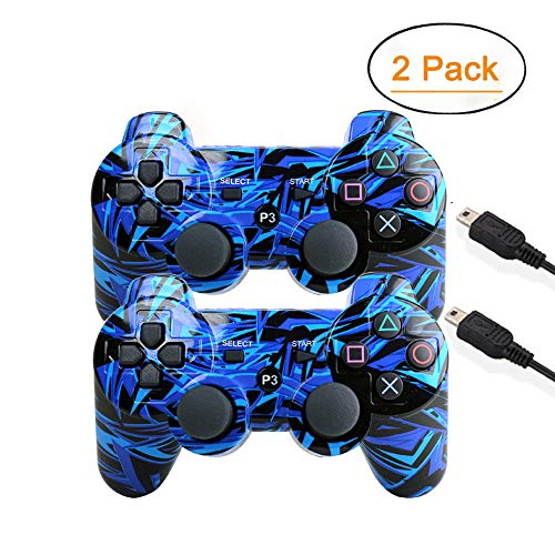 [2 Pack] Wireless Double Vibration Game Controller Bluetooth Sixaxis Gamepad Remote for PS3 Playstation 3 [Gift 2 Charging-Cable] (Blue Line)