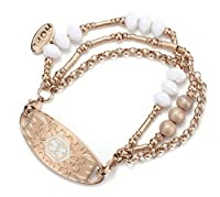 Rose Gold Filled Beads Cuff Wrap Bangle Medical Alert ID Bracelet for Women (Free Engraving)
