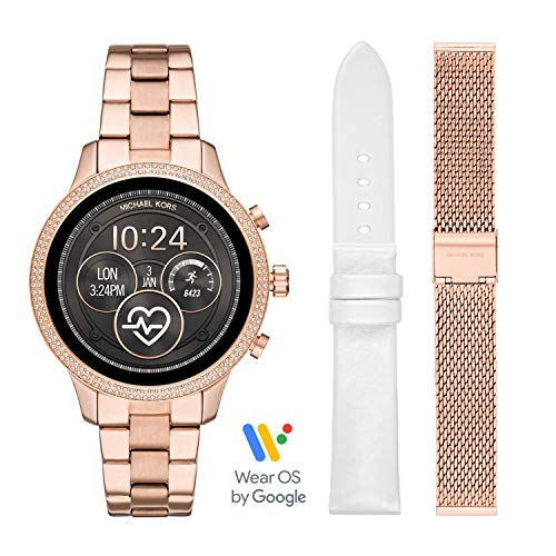 (Michael Kors Access Womens Runway Touchscreen Smartwatch Stainless Steel Bracelet Leather Set watch, Rose Gold tone, MKT5060)