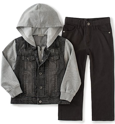 Pant Set Black Denim (Calvin Klein Little Boys' Toddler Denim Hooded Jacket and Pant Set, Black,)