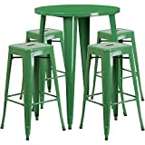 Flash Furniture 30'' Round Green Metal Indoor-Outdoor Bar Table Set with 4 Square Seat Backless Stools