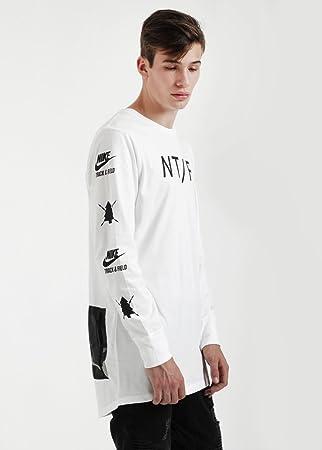 10d80a4bd Nike Ru Ls Long Utility T-Shirt, White/Black, Größe XL: Amazon.de ...