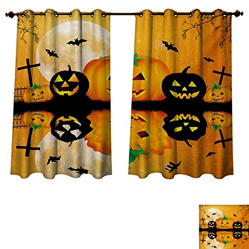 Halloween Blackout Curtains Panels for Bedroom Spooky Carved Halloween Jack o Lantern and Full Moon with Bats and Grave Lake Decorative Curtains For Living Room Orange Black W63 x L72 -