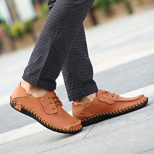 Shinysky Mens Komfort Mjuka Läder Bilkörning Skor Lägenheter Tillfälliga Promenadskor Brun