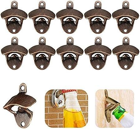 Keyohome - 10 abrebotellas de pared, montaje en pared, abrebotellas de bronce, abridor de cerveza, sacacorchos de pared para familia, bar, fiesta, restaurante, cerveza, cristal