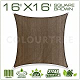 ColourTree 2nd Gen 16' x 16' Brown Sun Shade Sail Square Canopy Awning Fabric Cloth UV Block Heavy Duty Commercial Grade Outdoor Patio Garden Carport 5 Years Warranty (Custom Size Available)