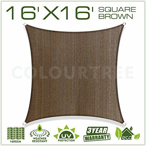 ColourTree 16′ x 16′ Sun Shade Sail Canopy  Square Brown – Commercial Standard ...