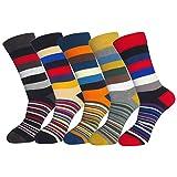FULIER Mens Colorful Design Comfort Cotton Casual Crew Dress Socks Pack (Stripe-2)