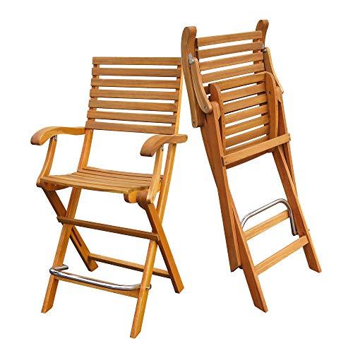 Interbuild Casino Bar Chair   Golden Teak Finish   Foldable   2-Piece Set ... (Furniture Vegas Wicker Patio Las)