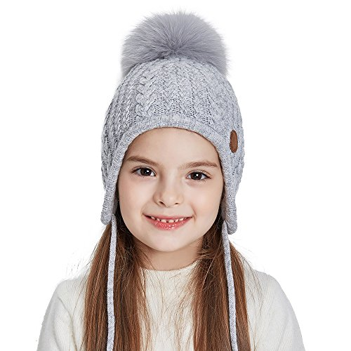 YINONIY Toddler Winter Hat For Boys and Girls Ear Flaps Beanie With Real Fox Pom Pom For Boys and Girls (Childrens Ear Flap Beanie)