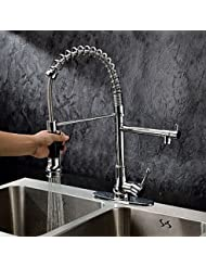 BL Kitchen Faucet Contemporary Pullout Spray Pre Rinse Brass Chrome