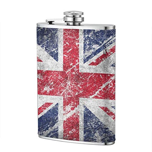 Shot Flask - British Flag Food Grade (304) Stainless Steel Flask Leakproof 8 Oz Hip Flask for Storing Whiskey Alcohol -