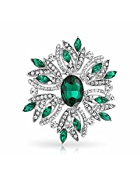 Large Vintage Style Flower Green White Brooch Pin Crystal Rhodium Plated