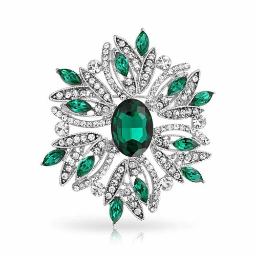 Bling Jewelry Large Statement Vintage Style Crystal Flower Green White Brooch Pin for Women for Mother Silver Plated ()
