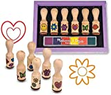 Arts & Crafts : Melissa & Doug Happy Handles Wooden Stamp Set: 6 Stamps and 6-Color Stamp Pad