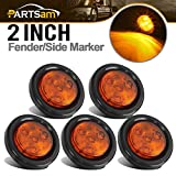 "Partsam 5pcs 2"" Amber Round Sealed Marker Light 4 LED Mount Grommet/Pigtails"