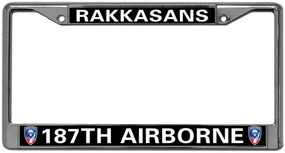 GND US Veteran 82ND Airborne Division Auto License Plate Frame,US Military Car License Plate Frame Stainless Steel Car Licence Plate Covers for US Vehicles