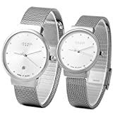 JULIUS JA-426 His and Hers Couple Ultra Thin Diamante Dial Silver Mesh Stainless Steel Fashion Watch