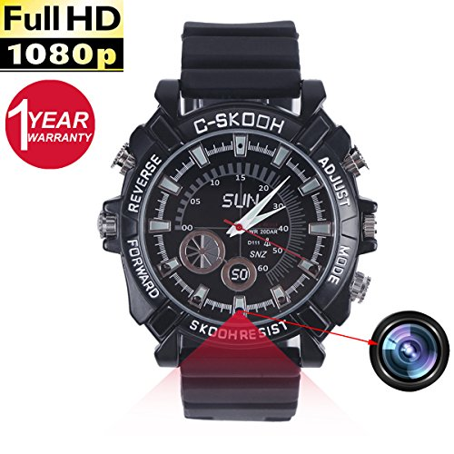 Spy Watch Camera, Mini Camcorders Full HD 1080P IR Night Vision WristWatch DVR Voice Recording Watches 16G ()
