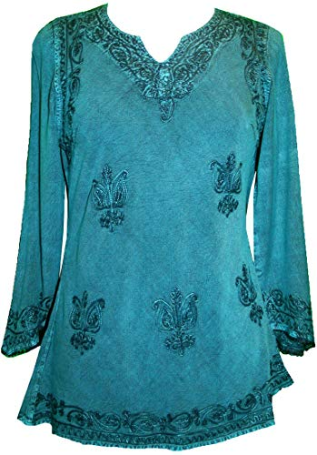 - Agan Traders 127 B Medieval Renaissance Vintage Gypsy Rayon Top Blouse Tunic ~ India (2X, Turquoise)