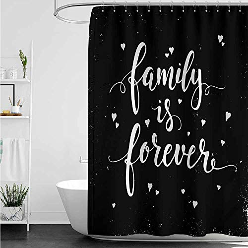 home1love Travel Shower Curtain,Family Family is Forever Hand Drawn Typography with Little Cute Hearts Poster Style,Fabric Shower Curtain Bathroom,W36x72L,Black and White