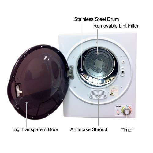 Panda Compact Dryer 3.75cu.ft 110V Apartment Size, White and Black,Stainless Steel Tumble by Panda (Image #2)