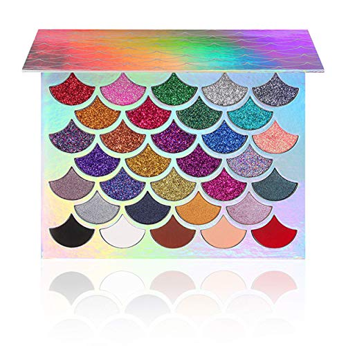 The Original Mermaid Glitter Eyeshadow Palette - Vegan & Cruelty Free - (32 Colors) - 21 Pressed Glitters, 6 Shimmery & 5 Matte Shades - Highly Pigmented - Waterproof & Long-Lasting